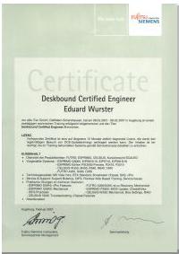 Fujitsu Siemens Drucker reparieren reinigen und warten Zertifikat