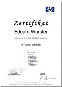 HP Laserdrucker Laserjet reparieren reinigen und warten Zertifikat