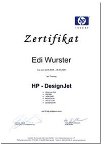 HP Designjet Großformatdrucker Tinte reparieren reinigen und warten Zertifikat
