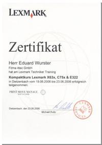Lexmark Großformatdrucker reparieren reinigen und warten Zertifikat